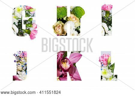 Floral Letters. The Letters G, H, I, J, K, L, Are Made From Colorful Flower Photos. A Collection Of
