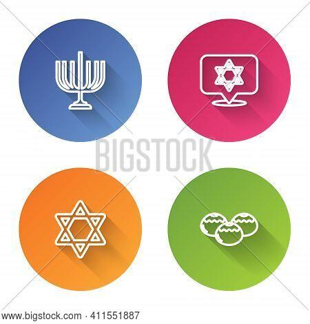 Set Line Hanukkah Menorah, Star Of David, And Jewish Sweet Bakery. Color Circle Button. Vector