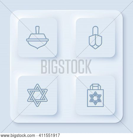 Set Line Hanukkah Dreidel, , Star Of David And Shopping Bag With Star David. White Square Button. Ve