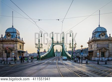 Budapest, Hungary, March 2020, View Of The Liberty Bridge From The Pest District
