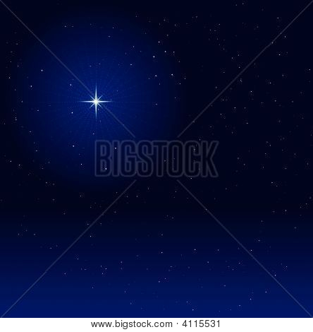 Night Sky With Glowing Star