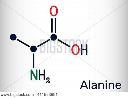 Alanine, L-alanine, Ala, A Molecule. It Is Non-essential Amino Acid. Structural Chemical Formula Ske