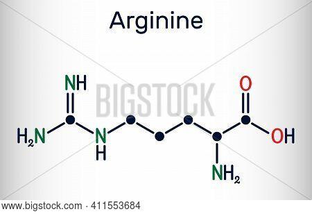 Arginine, L-arginine, Arg, R Essential Amino Acid Molecule, It Is Used In The Biosynthesis Of Protei