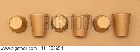 Set Of Disposable Paper Cup, Banner View. Zero Waste Plastic Free Concept