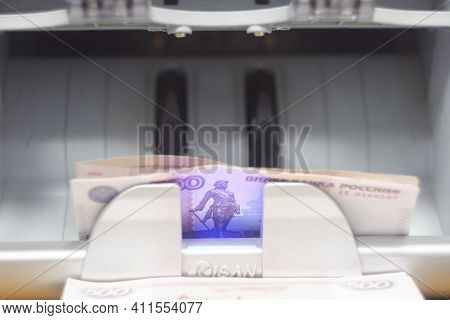 Automatic Money Counting Machine.russian Banknotes On The Counting Machine.