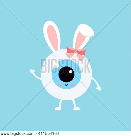 Easter Cute Eye Ball With Bunny Ears Icon. Ophthalmology Eyeball Girl Character With Face And Easter