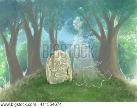 Illustration Of A Ghost Near His Grave In The Background Of The Forest. An Old Abandoned Grave And N