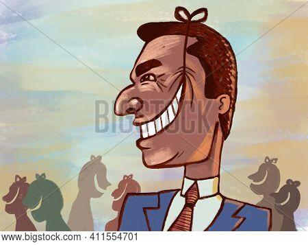 Illustration Of A Man, Artificial Deceitful Smile. Lying Businessman, Politics, Lying Benevolence
