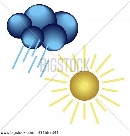 Set Of Meteorological 3d Icons Of Sun And Cloud With Rain Isolated On White Background. Vector Clipa