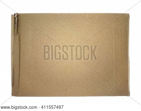 Overhead View Of Rectangular Brown Paper Box Background Isolated On White Background. Used Cardboard