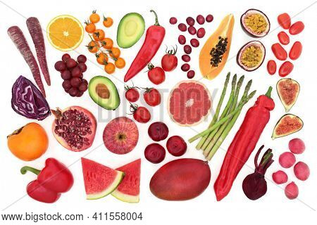 Fruit and vegetable collection very high in lycopene found in many red, purple, orange and many other fruits and vegetables. Foods also high in antioxdants, vitamins, fibre, minerals and fibre.