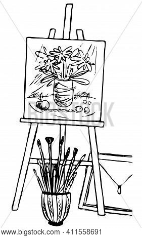 An Easel With A Drawing And A Lot Of Brushes, A Drawing With An Icon-symbol Of Artists, A Contour Bl