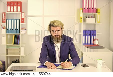 Writing On Paper. Business Analyst. Business Process Specialist With Folder. Businessman Hold Office