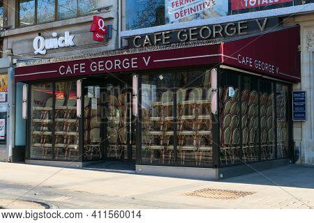 Paris, France. March 07. 2021. Famous Restaurant