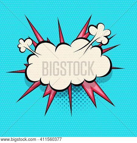 Comics Speech Bubble For Text Pop Art Design. Colored Empty Dialog Cloud For Text Message Halftone S