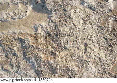 Travertine Rock Formations Close Up. Texture Of Travertine In Pamukkale, Turkey.