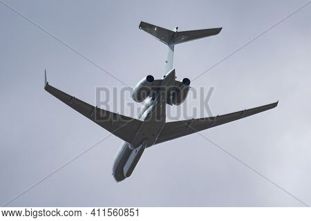 Fairford, United Kingdom - July 11, 2018: Royal Air Force Raf Bombardier Global Express Raytheon Sen