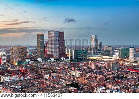 The Hague, Netherlands city centre skyline at twilight.