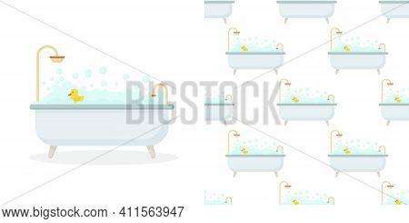 Vector Interior Illustration In Flat Style. Bathroom With Furniture. Bathroom Interior