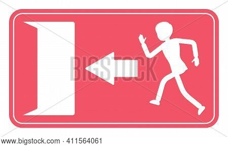 Emergency Door Exit Sign, Red Safety Evacuation Indicator. Running Man Pictorial International Repre