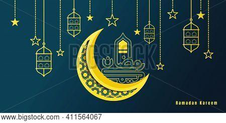 Ramadan Kareem Design With Moon Design. Arabic Text Mean Is Ramadan Kareem. Ramadan Kareem Backgroun