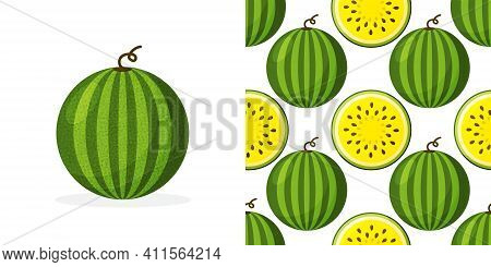 Vector Seamless Pattern Of Watermelon With Yellow Pulp And Seeds.