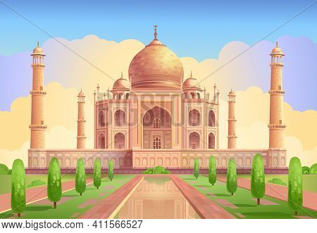Taj Mahal Is A Palace In India. Mosque. Landmark, Architecture, Hindu Temple In The Indian City Of A