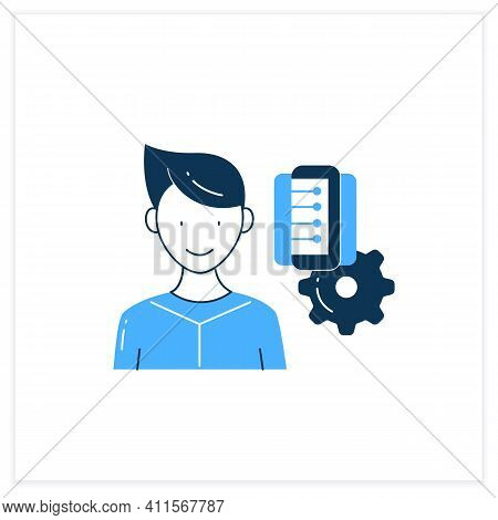 Information Management Flat Icon. Collect, Manage, Preserve, Store And Deliver Information. Informat