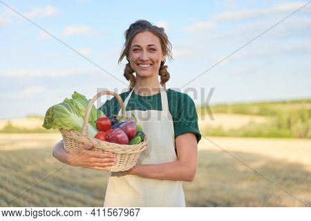 Woman Farmer Holding Basket Vegetable Onion Tomato Salad Cucumber Standing Farmland Smiling Female A