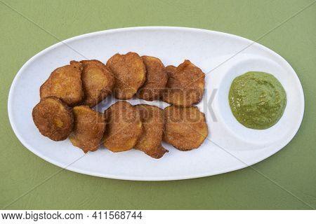 Rajgira Aloo Bhajiya Dish Special Faral Item Home Made Prepared During Fasting Festival Days Like Ma