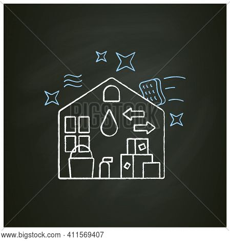 Move Out Cleaning Chalk Icon. Change Residence. Moving To Another House. Sweeping, Wiping. Cleaning