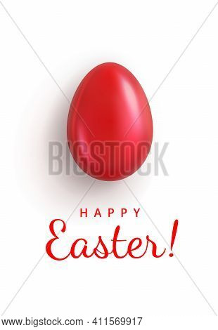 Happy Easter. Greeting Card With Glossy Red Easter Egg Closeup And Greeting Text. Isolation On A Whi