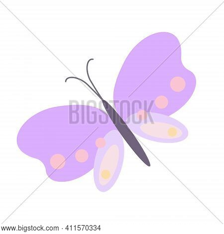 Fancy Little Pastel-colored Butterfly In Simple Flat Style Vector Illustration, Symbol Of Spring, Ea