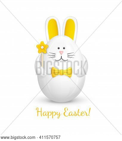 Bunny Shaped Easter Egg. Cute Easter Decoration In The Form Of A Figurine Of A White Rabbit With A Y