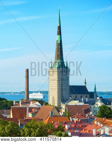 View Of Tallinn Old Town. Estonia. Cruise Ship In The Background