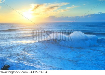 View Of Atlantic Ocean At Sunset. Nazare, Portugal