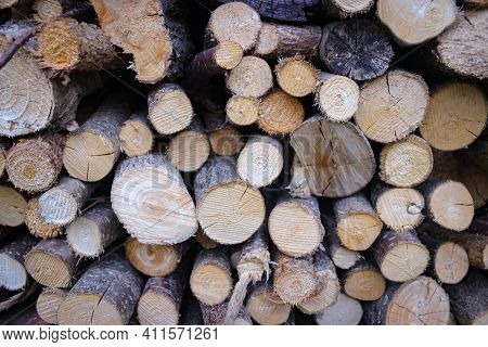 Abstract Background With Chopped Wood In A Large Heap And Stacked In Storage Piles