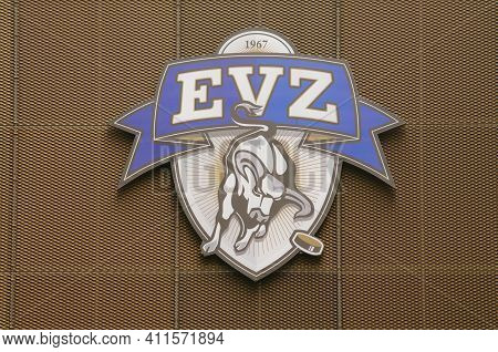Zug, Switzerland - 6th February 2021 : Logo Of Evz Zug Hockey Club Team Hanging On The Outside Of Th
