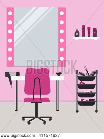 Hairdressing Salon In Pink. Interior. Hairdresser's Workplace. There Is A Table, A Chair, Mirror, Ha