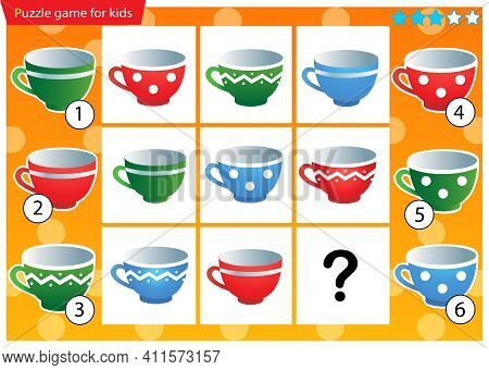 What Item Are Missing? Kitchen Tea Set. Colorful Cups. Logic Puzzle Game For Kids. Education Game Fo