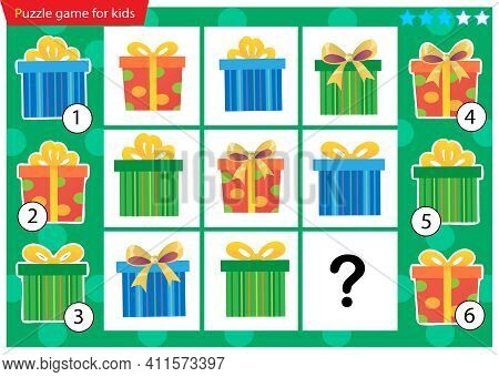 What Item Are Missing? Holiday Boxes, Souvenirs And Gifts. Logic Puzzle Game For Kids. Education Gam