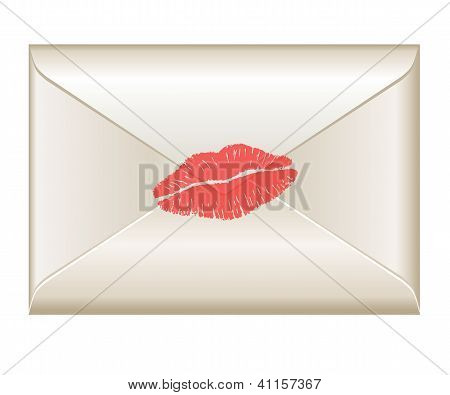 Love Letter With Lipstick Kiss