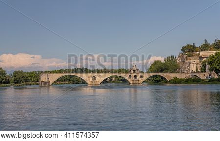 Pont Saint Benezet, Pont D Avignon Over The Rhone River In The Provence In France, Europe