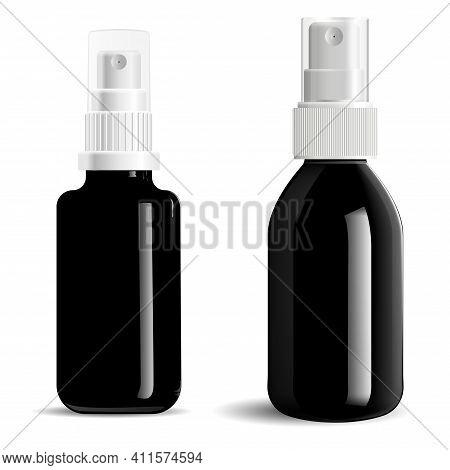 Cosmetic Spray Black Bottle. Mist Spray Package Isolated On Background. Aerosol Spray Atomozer Vial