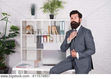 Man Beaded Hipster Launched Startup Project. Company Owner. Office Worker Formal Suit. Job Interview