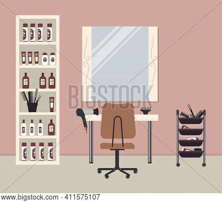 Hairdressing Salon In Cocoa Color. Interior. Hairdresser's Workplace. There Is A Table, A Chair, Mir