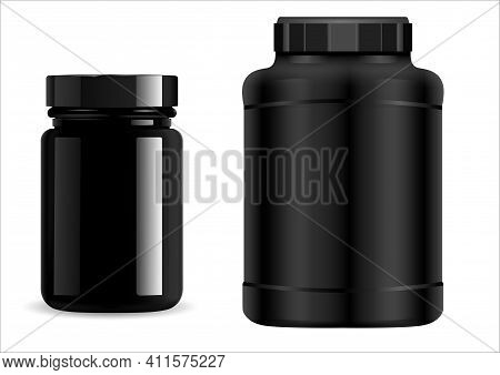 Protein Jar. Black Plastic Bottle. Supplement Package, Sport Container, 3d Vector. Whey Protein Powd