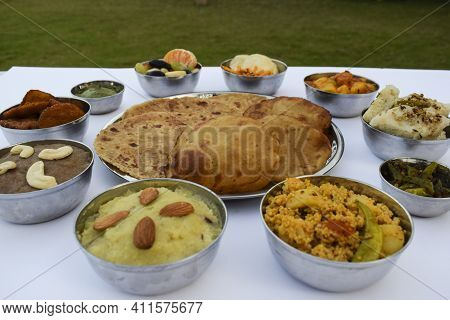 Indian Fasting Cuisine Upwas Items Thali Complere Meal For Vrat Ekadashi.upawas Thali Meal With Rajg