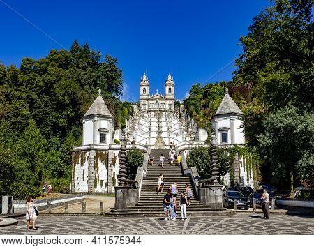 Braga, Portugal ; August 2020 : The Bom Jesus Do Monte Sanctuary Is Located In The City Of Braga, Po