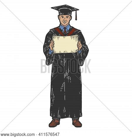Academic Dress. Graduate With A Diploma. Sketch Scratch Board Imitation.
